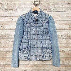 Blue Willi's Quilted Chambray Denim Jacket Large